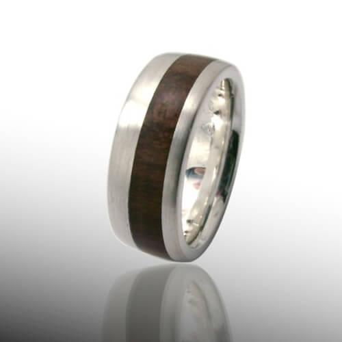 Mit Holzeinlagen Ring Silber Mit Zwetschge 2