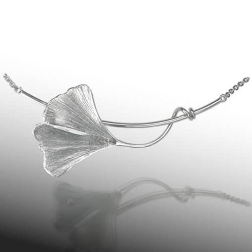 Collier Ginkgoblatt in Sterlingsilber