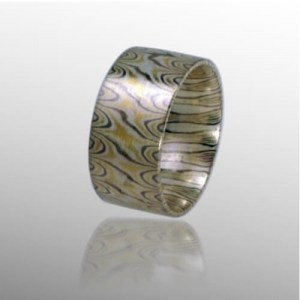 Ring in Mokume-Gane, Gold Palladium Silber